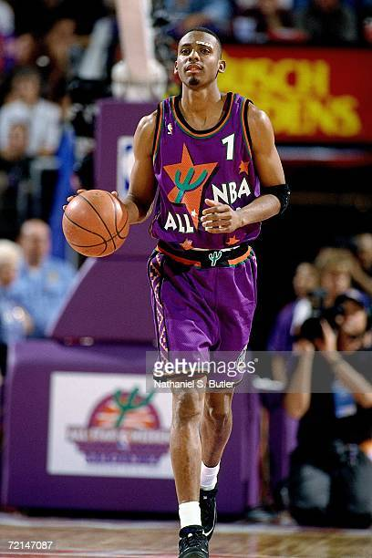 Anfernee Hardaway of the Eastern Conference AllStars moves the ball up court against the Western Conference AllStars during the 1995 NBA AllStar Game...