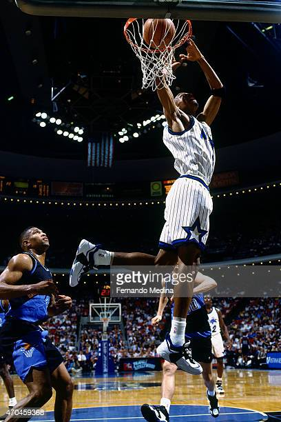 Anfernee Hardaway of the Orlando Magic dunks the ball against the Cleveland Cavaliers on April 11 1995 at the Orlando Arena in Orlando Florida NOTE...