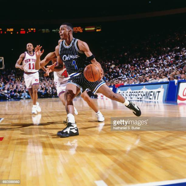 Anfernee Hardaway of the Orlando Magic handles the ball during a game against the New York Knicks circa 1994 at Madison Square Garden in New York...