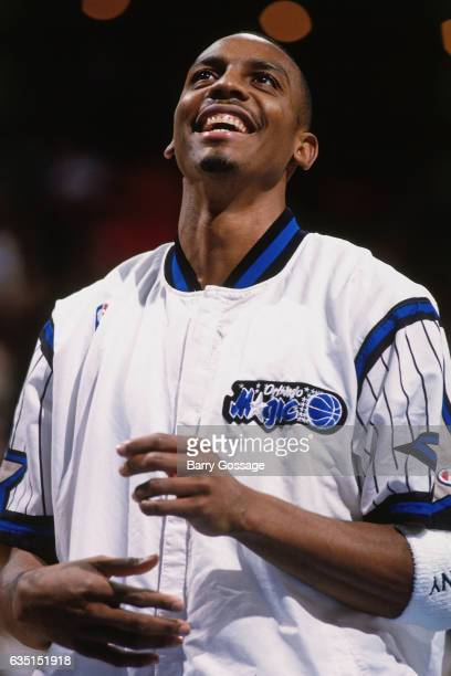 Anfernee Hardaway of the Orlando Magic looks on against the Golden State Warriors on November 20 1995 at the Orlando Arena in Orlando Florida NOTE TO...