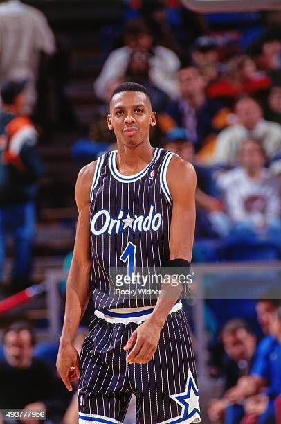 Anfernee Hardaway of the Orlando Magic looks on against the Sacramento Kings on December 19 1993 at Arco Arena in Sacramento California NOTE TO USER...