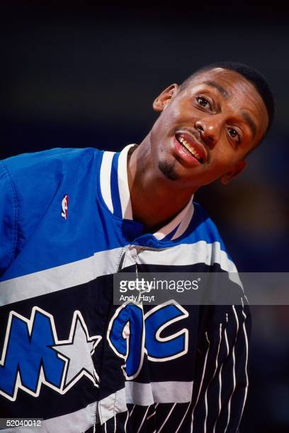 Anfernee Hardaway of the Orlando Magic looks on during a break in the NBA game against the Portland Trail Blazers on December 20 1994 in Portland...