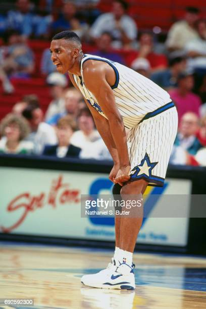 Anfernee Hardaway of the Orlando Magic looks on during a game against the Detroit Pistons circa 1994 at Orlando Arena in Orlando Florida NOTE TO USER...