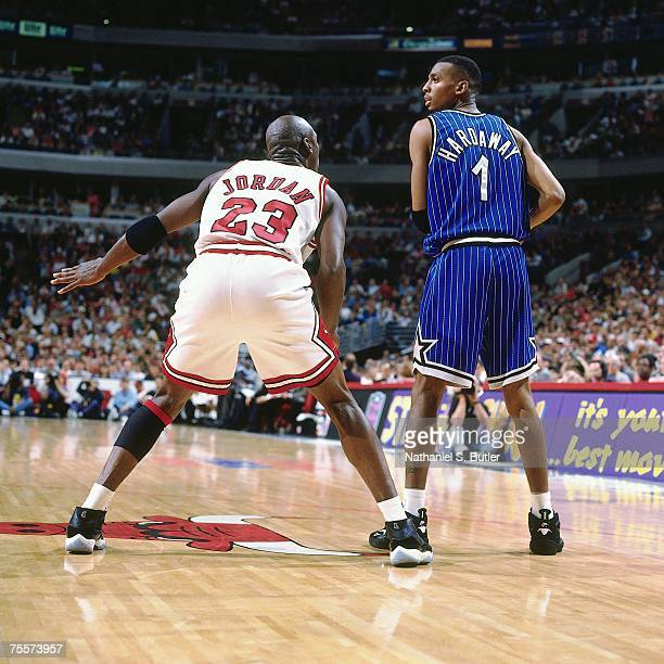 Anfernee Hardaway of the Orlando Magic looks to make a move against Michael Jordan of the Chicago Bulls during Game Four of the 1995 Eastern...