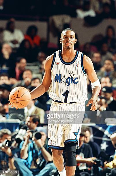 Anfernee Hardaway of the Orlando Magic moves the ball during the 1998 NBA AllStar game on February 8 1998 at Madison Square Garden in New York City