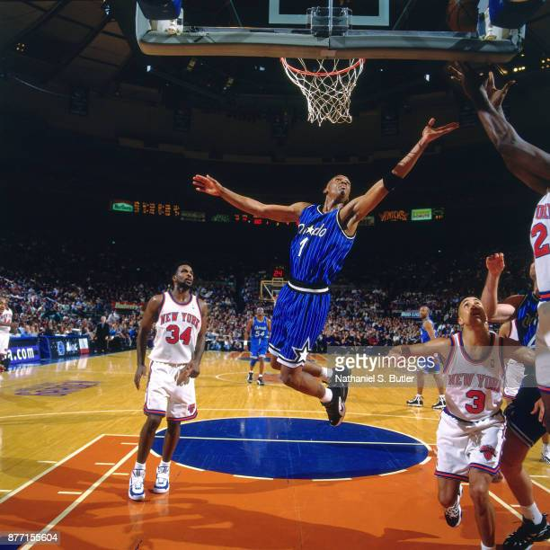 Anfernee Hardaway of the Orlando Magic rebounds during a game played on April 3 1996 at Madison Square Garden in New York City NOTE TO USER User...