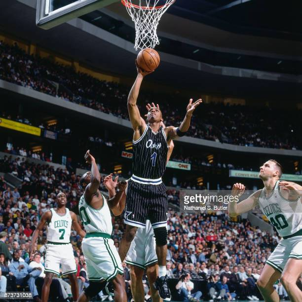 Anfernee Hardaway of the Orlando Magic shoots during a game played on November 10 1995 at the FleetCenter in Boston Massachusetts NOTE TO USER User...