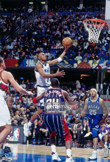 Anfernee Hardaway of the Orlando Magic shoots during the 1997 AllStar Game on February 9 1997 at Gund Arena in Cleveland Ohio NOTE TO USER User...