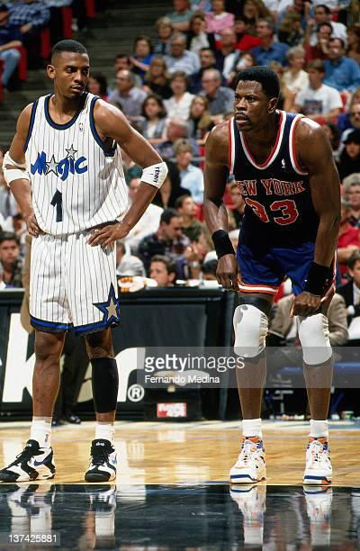 Anfernee Hardaway of the Orlando Magic stands next to Patrick Ewing of the New York Knicks circa 1995 at the Orlando Arena in Orlando Florida NOTE TO...