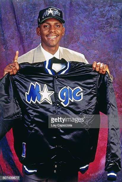 Anfernee Hardaway poses for a portrait after he was selected number three overall by the Orland Magic during the 1993 NBA Draft on June 30, 1993 at...