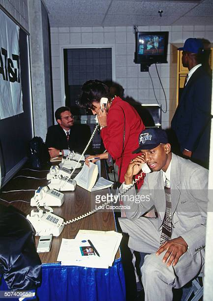 Anfernee Hardaway talks on the phone during the 1993 NBA Draft on June 30 1993 at the Palace of Auburn Hills in Auburn Hills Michigan NOTE TO USER...