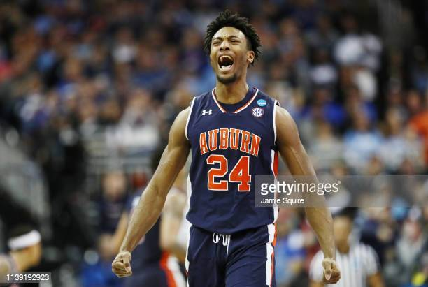 Anfernee McLemore of the Auburn Tigers celebrates against the North Carolina Tar Heels during the 2019 NCAA Basketball Tournament Midwest Regional at...