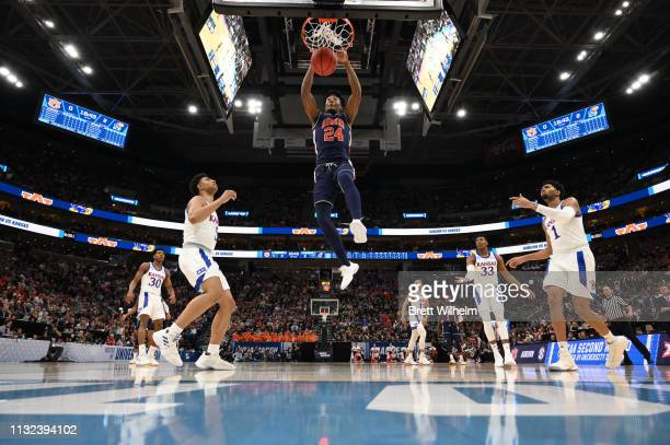 Anfernee McLemore of the Auburn Tigers dunks the ball in the game against the Kansas Jayhawks in the second round of the 2019 NCAA Photos via Getty...