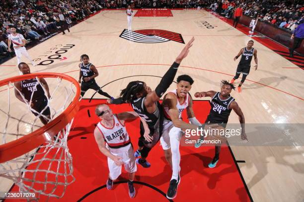 Anfernee Simons of the Portland Trail Blazers shoots the ball during the game against the Sacramento Kings on October 20, 2021 at the Moda Center...