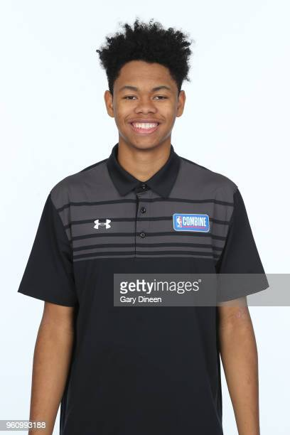 Anfernee Simons poses for a head shot at the Body Image station for the Medical Evaluation portion of the 2018 NBA Combine powered by Under Armour on...