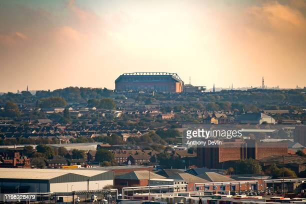 Anfield football stadium home of Liverpool football club is seen on the horizon of the Liverpool skyline on October 23 2019 in Liverpool England