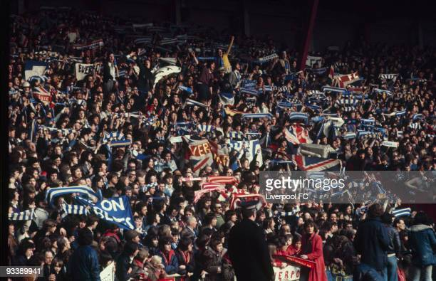 Anfield Road Stand and the Everton away fans intermingled with Liverpool supporters for the Merseyside derby during the Football League Division One...