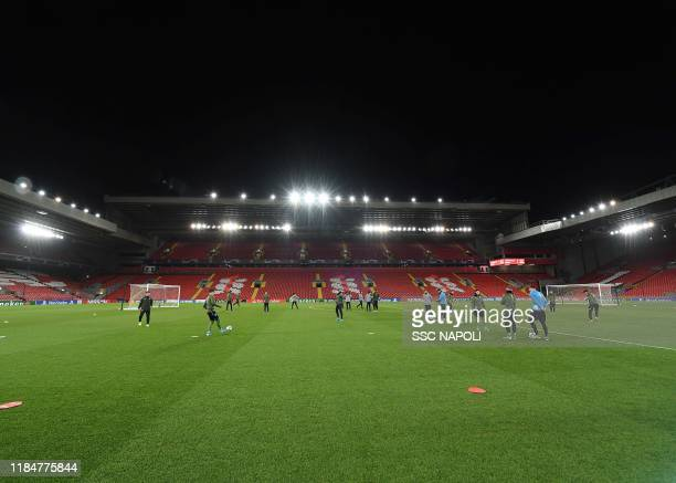 Anfield Stadium during an SSC Napoli training session on November 26 2019 in Naples Italy