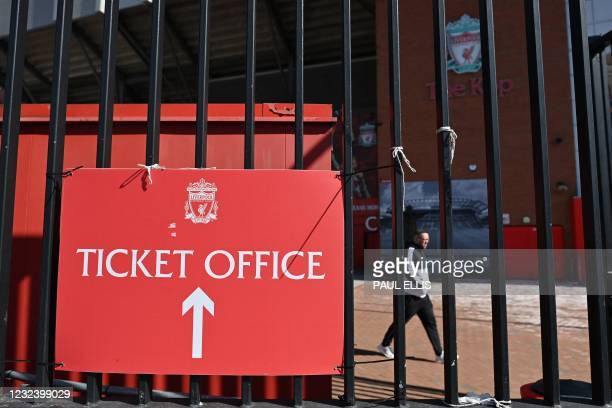 Anfield stadium, home of English Premier League football club Liverpool, is pictured in Liverpool, north west England on April 19, 2021. - Twelve of...
