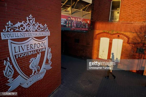 Anfield Stadium, the home Liverpool Football Club during the coronavirus pandemic lockdown at Anfield on April 20, 2020 in Liverpool, England. Amid...