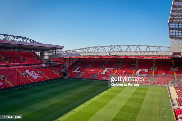 Anfield Stadium the home Liverpool Football Club during the coronavirus pandemic lockdown at Anfield on April 20 2020 in Liverpool England Amid...