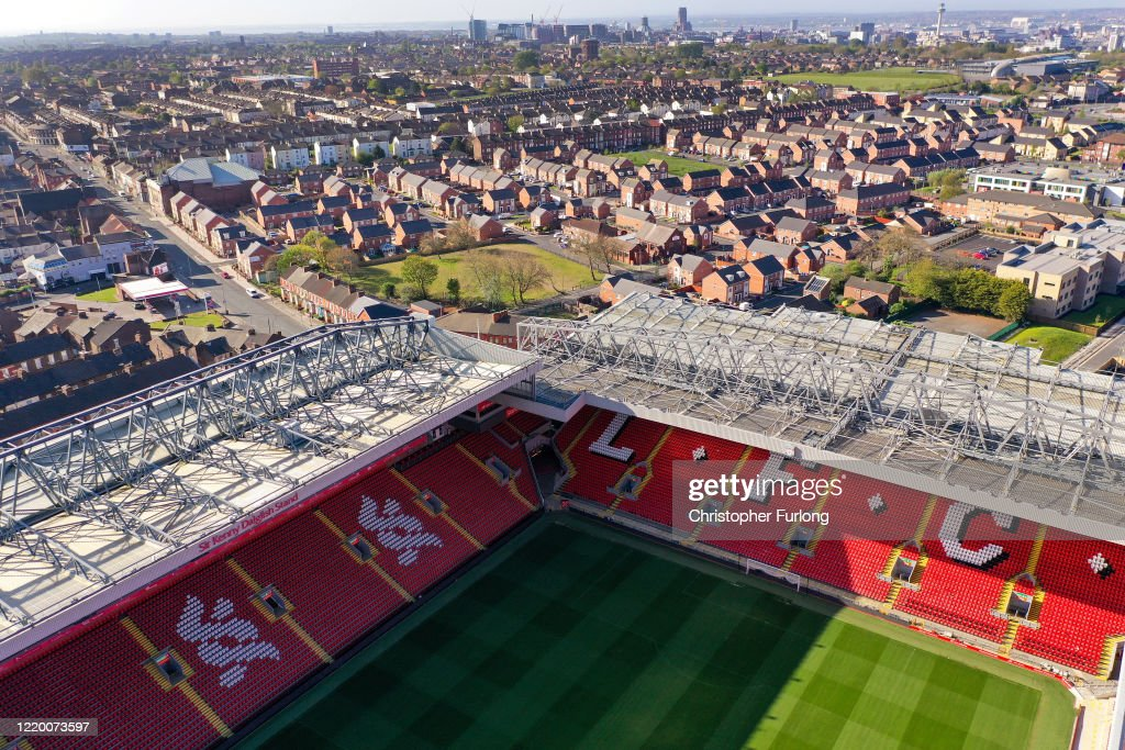 Aerial Views Of Anfield As Football Remains Suspended Due To Coronavirus : News Photo