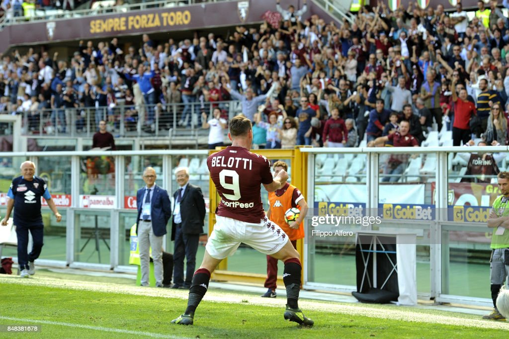 Anfrea Belotti of Torino celebrates after scoring a goal during the Serie A match between Torino FC and UC Sampdoria at Stadio Olimpico di Torino on September 17, 2017 in Turin, Italy.