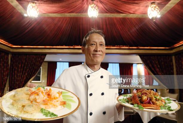 Ang Court Executive Chef Kwong Wai-keung, with Sauteed prawns and crab roe accompanied with golden-fried pork and crab meat puffs on the left; and...