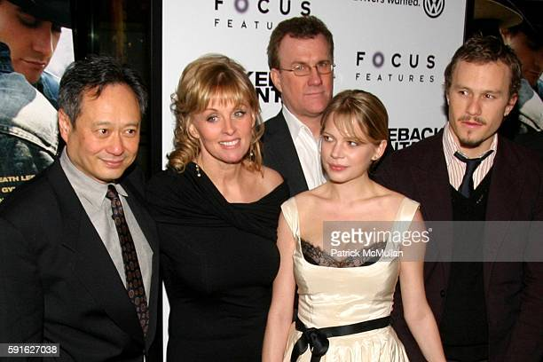 Ang Lee Diana Ossana David Linde Michelle Williams and Heath Ledger attend Focus Features NYC Premiere of Ang Lee's Brokeback Mountain at Loews...