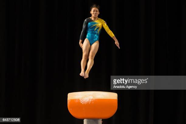 Ang Tracie of Malaysia competes in the Women's Vault during the Gymnastics World Cup at Hisense Arena in Melbourne Australia February 22 2017