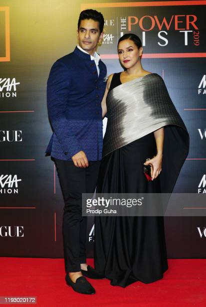 """Angad Bedi and Neha Dhupia attends the """"The Powerlist"""" by Nykaa Fashion and Vogue India on December 09,2019 in Mumbai, India"""