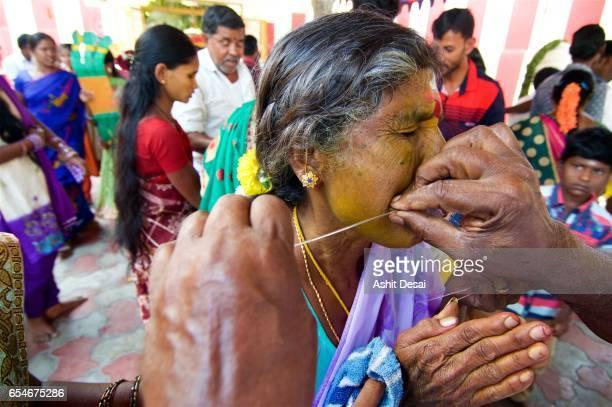 angalamman festival, kaveripattinam, tamil nadu, india - body piercings stock photos and pictures