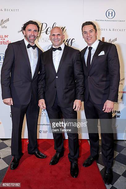 Ange Christou Sam Greco and Anthony Koutofides arrive ahead of Poker With the Stars on December 12 2016 in Melbourne Australia