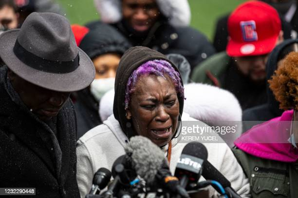 Ange Godson, grandmother of Daunte Wright cries during a press conference at the Hennepin County Government Center in Minneapolis, Minnesota on April...