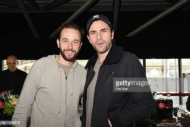 Ange Mathieu Bonvarlet and actor Gregory Fitoussi attend the Winamax Poker Tour 20162017 at Grande Halle de la Villette Day One on November 5 2016 in...