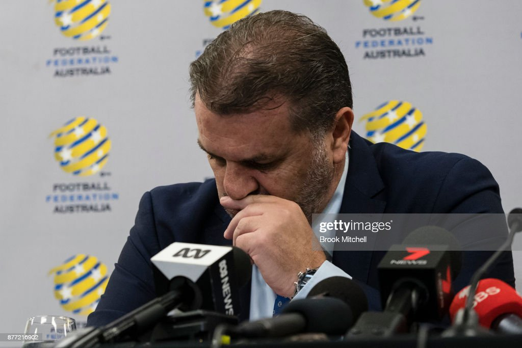 Ange Postecoglou announces he will step aside from his role as coach of the Socceroos during a FFA Socceroos press conference at Sydney Cricket Ground on November 22, 2017 in Sydney, Australia.