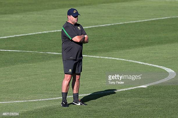 Ange Postecoglou coach of the Socceroos during an Australian Socceroos Asian Cup training session at Cooks Hill No2 Sports Ground on January 25 2015...