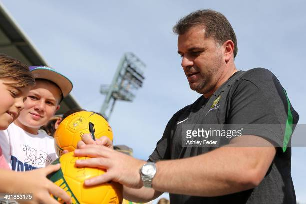 Ange Postecoglou during the Australian Socceroos Fan Day & Training Session at Bluetongue Stadium on May 18, 2014 in Gosford, Australia.