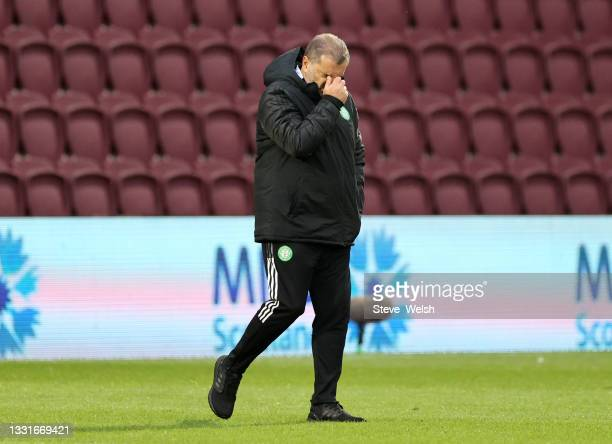 Ange Postecoglou, Head Coach of Celtic reacts as he walks off at half time during the Ladbrokes Scottish Premiership match between Heart of...