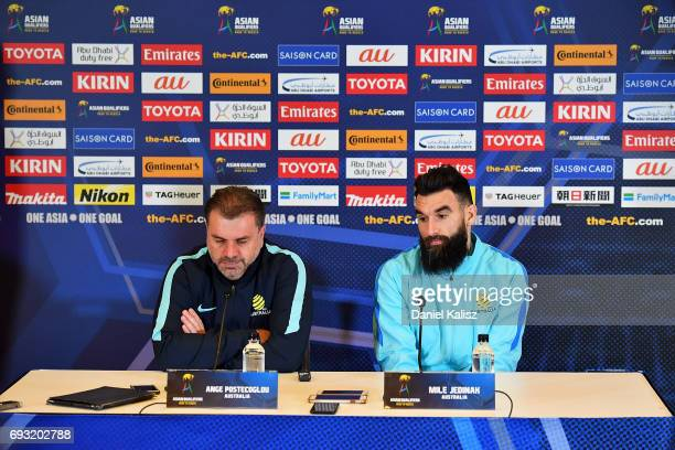 Ange Postecoglou head coach the Socceroos and Mile Jedinak captain of the Socceroos address the media during a press conference prior to the...