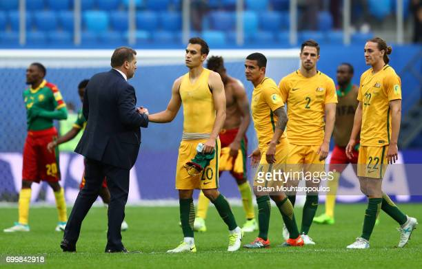Ange Postecoglou manager of Australia shakes hands with Trent Sainsbury of Australia after the FIFA Confederations Cup Russia 2017 Group B match...