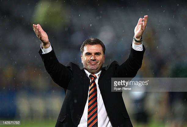 Ange Postecoglou manager of the Roar celebrates after the ALeague Semi Final 2nd Leg match between the Central Coast Mariners and the Brisbane Roar...