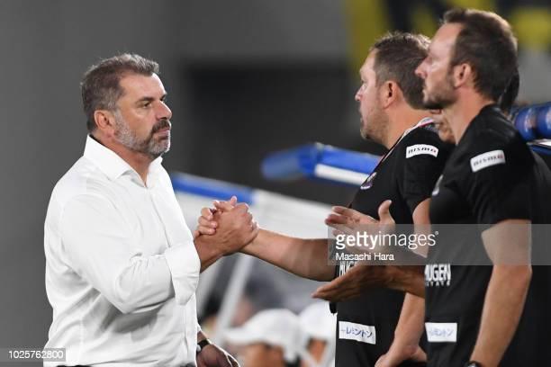Ange Postecoglou of Yokohama FMarinos celebrates the win after the JLeague J1 match between Yokohama FMarinos and Kashiwa Reysol at Nissan Stadium on...