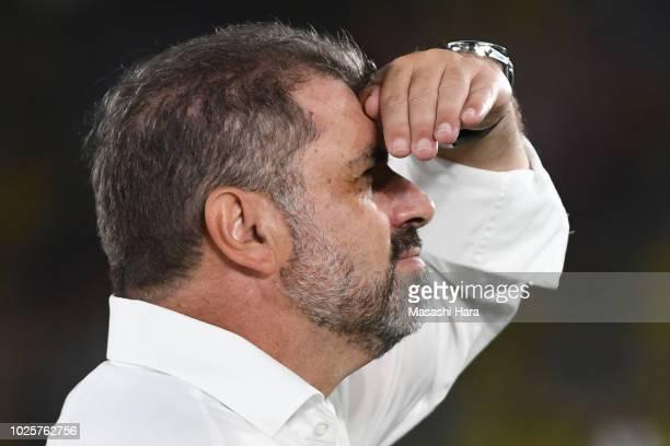 Ange Postecoglou of Yokohama FMarinos looks on after the JLeague J1 match between Yokohama FMarinos and Kashiwa Reysol at Nissan Stadium on September...