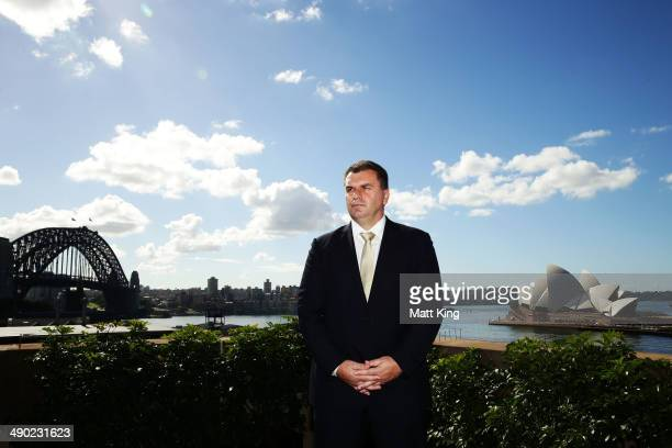 Ange Postecoglou poses during the Socceroos 2014 FIFA World Cup Preliminary Squad Announcement at Museum of Contemporary Art on May 14 2014 in Sydney...