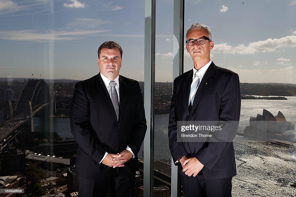 Ange Postecoglou poses with FFA CEO, David Gallop after being announced as coach of the Foxtel A-League All Stars to face Manchester United during a FFA All-Stars announcement at Blu Horizon on March 18, 2013 in Sydney, Australia.