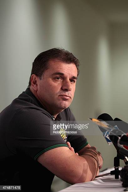 Ange Postecoglou speaks to the media at AAMI Park on February 26 2014 in Melbourne Australia