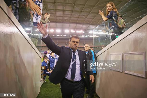 Ange Postecoglou the coach of the Victory leaves the field after winning his final game as coach during the round three A-League match between...