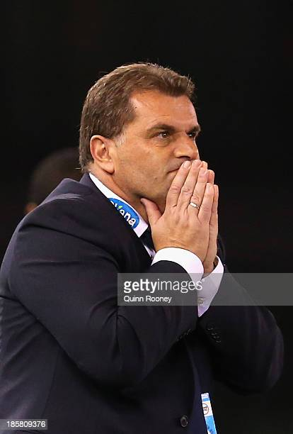 Ange Postecoglou the coach of the Victory looks on during the round three ALeague match between Melbourne Victory and Brisbane Roar at Etihad Stadium...