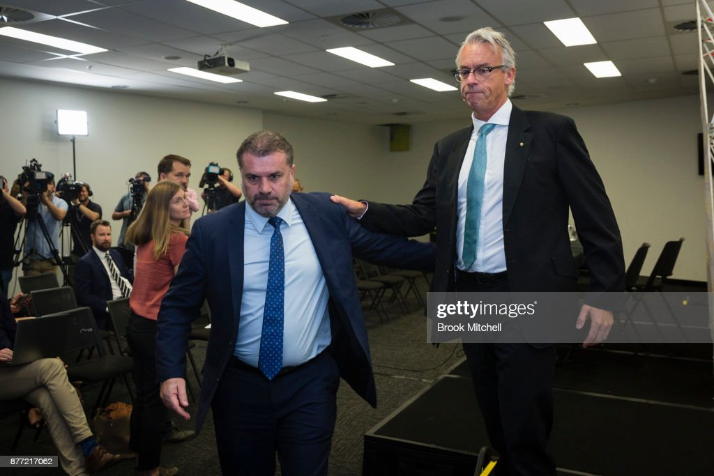Ange Postecoglou (L), with FFA chief executive David Gallop after announcing he will step aside from his role as coach of the Socceroos during a FFA Socceroos press conference at Sydney Cricket Ground on November 22, 2017 in Sydney, Australia.